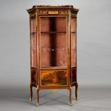 Louis XV Style Gilt Bronze Mounted and Painted Decorated Mahogany Vitrine Cabinet