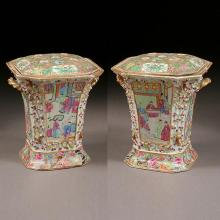 Pair of Chinese Export Rose Canton Enameled Porcelain Bough Pots