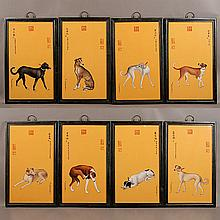 Set of Eight Chinese Polychrome Enameled Porcelain Plaques