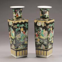 Pair of Chinese Polychrome Enameled Famille Noir Porcelain Vases