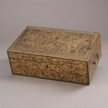 Chinese Export Gilt-Highlighted Black-Lacquered Traveling Desk