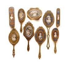 French Enameled Gilt Bronze Portrait Miniature Dresser Set