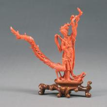Chinese Carved Coral Figure of a Guanyin and Pheasant
