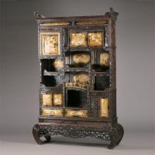 Japanese Parcel-Gilt and Hardstone-Mounted Hardwood Cabinet