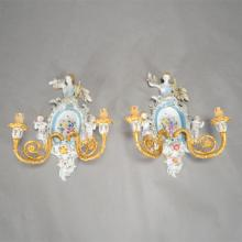 Pair of German Porcelain and Dore Bronze Two Light Figural Sconces