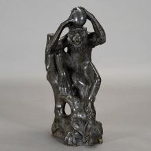 Italian Black Marble Carved Figure of a Monkey