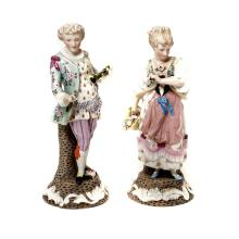 Matched Pair of Dresden Floral Encrusted Porcelain Figures