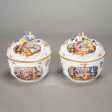 Pair of Sevres Style Porcelain Pots with Figural Tops