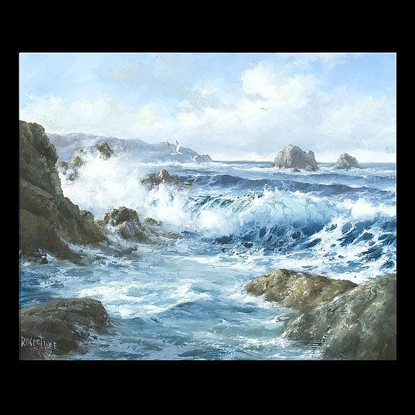 Robert Wee. California Art. Crashing Waves.