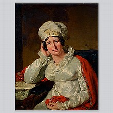 Portrait of a Lady in Red Shawl by Hoppner