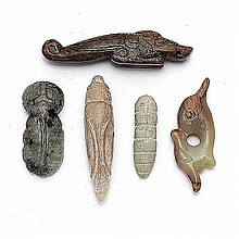 Five Jade Carvings, Neolithic to Han Dynasty