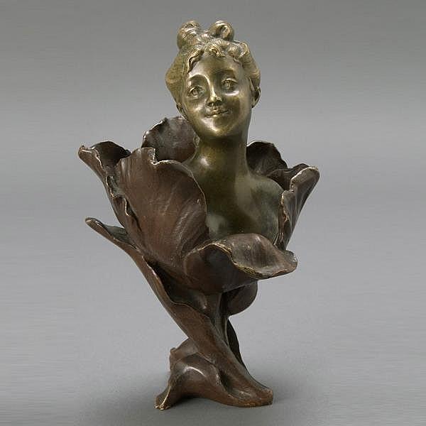 Henri Godet, Bronze Bust of Lady in A Flower