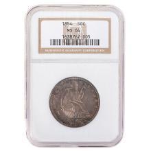 US 1854 Liberty Seated Half Dollar NGC MS64.