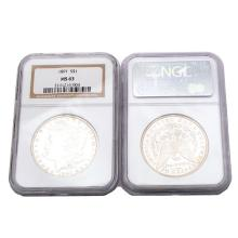 US 1891 and 1900(O) Morgan Dollars NGC MS63.