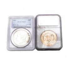 US 1889(O) NGC MS63 & 1902 PCGS MS63 Morgan Dollars.