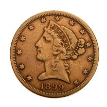 US 1899(S) Liberty Head $5.00 Gold Coin.