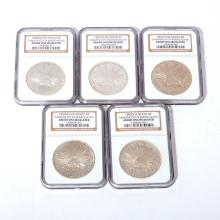 Lot of 5 Mexico Silver $5 Reales Coins.