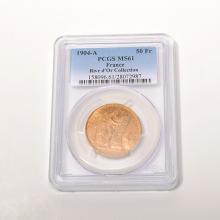 France 1904(A), 50 Franc Gold PCGS MS61.