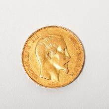 France 1857 50 Franc Gold Coin.