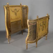 Louis XVI Style Giltwood Two Piece Bedstead