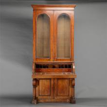 Massive Gothic Revival Mahogany Barrel Top Secretary Bookcase