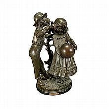 After Auguste Moreau, Bronze Figure of Two Children