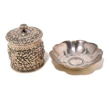 Tiffany Sterling Repousse Tea Canister and Floriform Dish