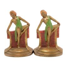 Pair of Art Deco Cold Painted Bronze Figural Bookends