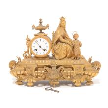 Japy Freres Gilt Metal Figural Mantel Clock