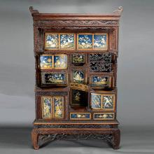 A Japanese Wood Display Cabinet with Embellished Decoration, Meiji Period