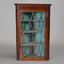 Georgian Mahogany Corner Cabinet with Turquoise Painted Interior