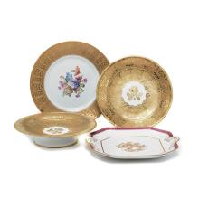Set of Royal Worcester China, Six Bavarian Plates and a Spode Tray