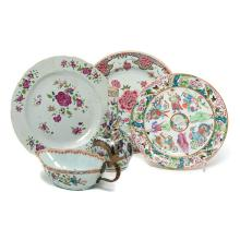 Five Chinese Famille Rose Porcelains