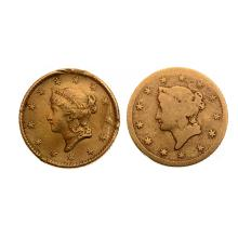 Lot of 2 US 1853 Liberty Head $1.00 Gold Coins.