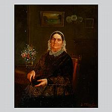 ELIZABETH A. ROCKWELL American Art Portrait of a Woman