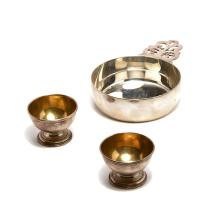 Tiffany Sterling Silver Porringer and Pair of Salt Cellars