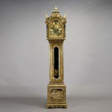 George III Style Japanned Lacquer Case Longcase Clock
