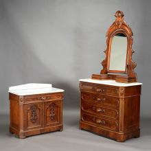 Renaissance Revival Dresser with Mirror and Wash Stand