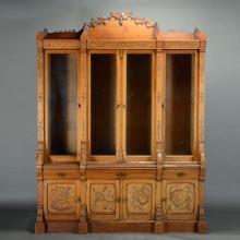 Massive Aesthetic Movement Two Piece Oak Bookcase