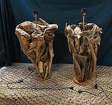 Two teak driftwood table lamps