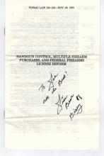Jim Brady Signed Public Law About Hand Guns..Shot Protecting Reagan