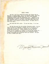 Margaret Truman Hand Signed Page About Harry S. Truman.