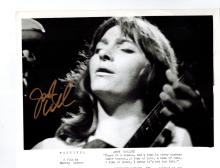 Judy Collins Autographed Photo.... (born May 1, 1939) is an American singer and songwriter known for her eclectic tastes in the material she records (which has included folk, show tunes, pop, rock and roll and standards) and for her social activism.