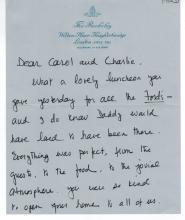 Charlotte Ford Hand Signed Letter....