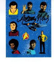 Nichelle Nichols Hand Signed Sheet of Star Trek Stickers...