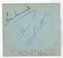 Cedric Hardwich, Mary Scott Signed Album Page/Reverse Leslie Banks