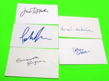 Dabney Coleman, Bea Arthur, Judi Dench, Portia DeRossi & Emmanuelle Seigner  Autographed Index Cards