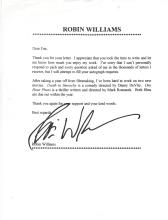 Robin Williams Autographed Letter