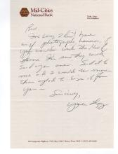 Yale Lary Handwritten Letter on Bank Stationary Which He was Vice President
