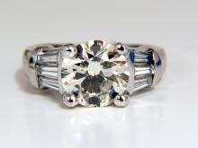 3.77CT TRADITIONAL ROUND BAGUETTES DIAMOND RING